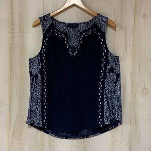 Lucky Brand Blue White Embroidered Paisley Top L